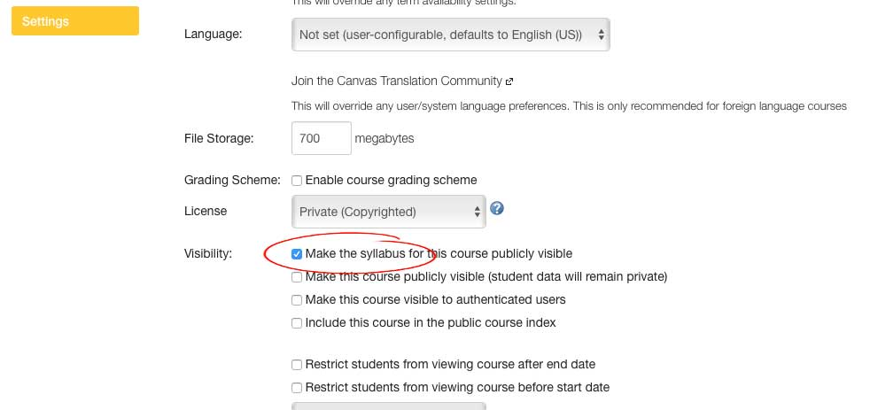 Make Syllabus Public screenshot