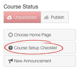 Course set up checklist location