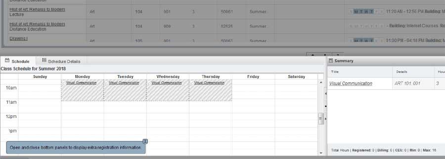 Class added to calendar