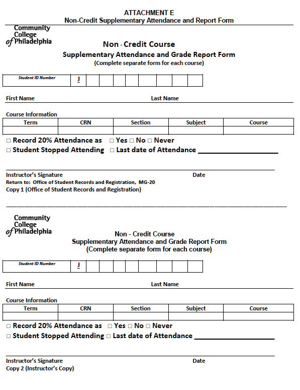 Non Credit Attendance form