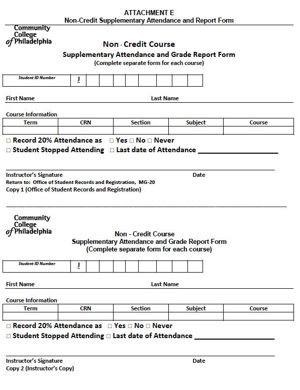 Non Credit Attendance form