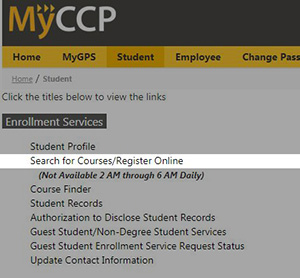 Myccp.ccp.edu Register for classes link