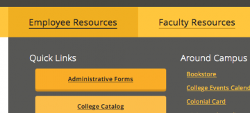 Employee resources navigation menu screenshot