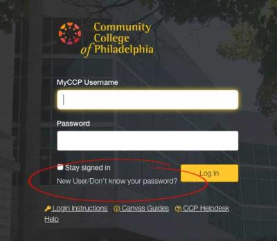 Image showing location of the request new user account on the canvas online learning tool