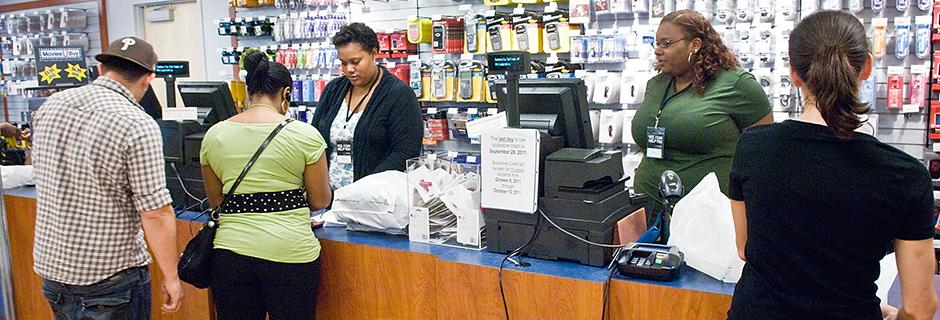 Students purchasing items in the bookstore at Community College of Philadelphia.