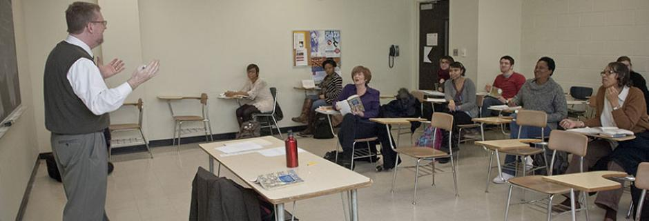 Students learning in a classroom at Community College of Philadelphia.